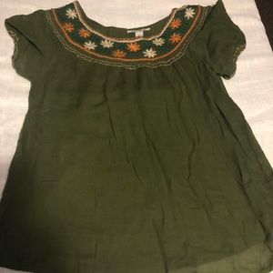 Lucky Brand Peasant Embroided Top Size M